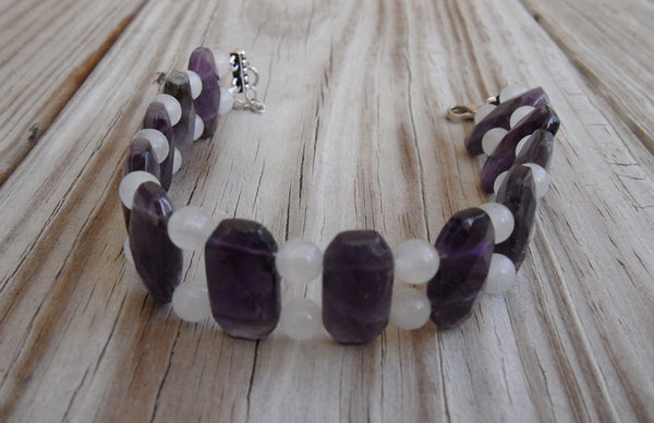 "beaded bracelet - snow quartz with double strand amethyst - 8.5in (21.6cm) with 2"" extender - nickel-free clasp and findings"