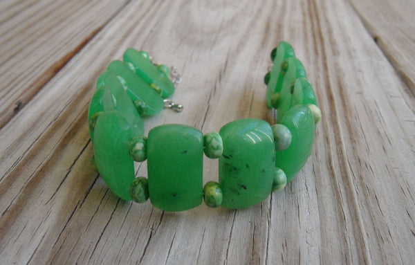 beaded bracelet - double strand green quartz