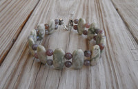 beaded bracelet - double strand peace jade with Indian agate