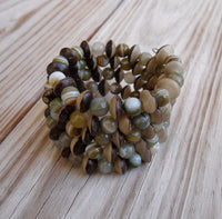 memory wire wrap bracelet - green agate and brown buri nut - one size fits all