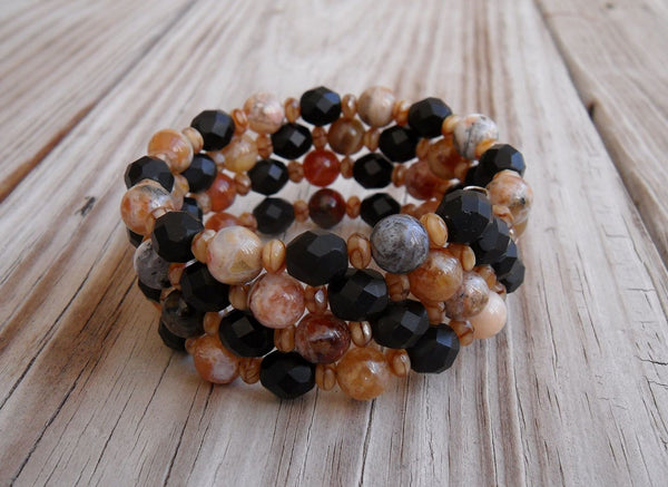 memory wire wrap bracelet - brandy opal and Czech crystal - one size fits all