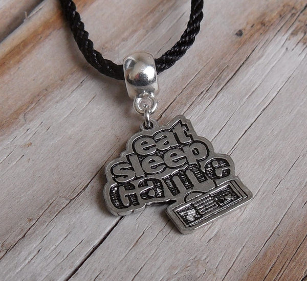 vegan charm necklace - Eat sleep game silver pewter charm on faux leather cord - 17 inch with 2 inch extender - lead and nickel free