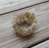 memory wire wrap bracelet - golden rutilated quartz chip beaded wrap - one size fits all - bridesmaid jewelry