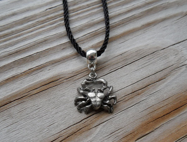 vegan charm necklace - Cancer zodiac crab silver pewter charm on faux leather cord - 17 inch with 2 inch extender - lead and nickel free