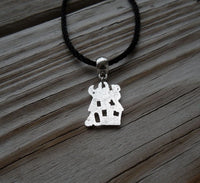 vegan charm necklace - haunted house silver pewter charm on faux leather cord - 17 inch with 2 inch extender - lead and nickel free