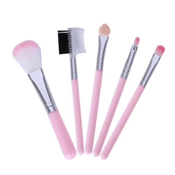 Baby Heart Pink Cute Make Up Brushes Set
