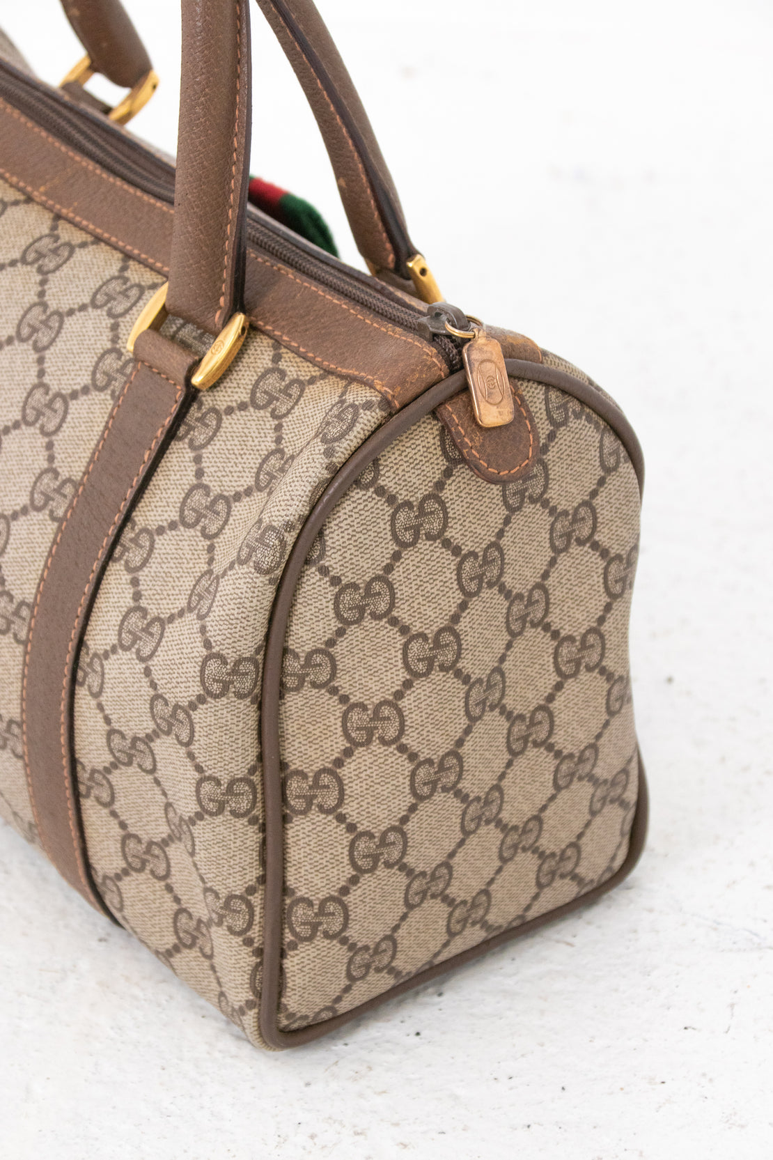 Gucci Leather Ophidia Boston Handbag