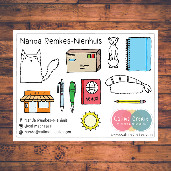 Contact me sticker sheets