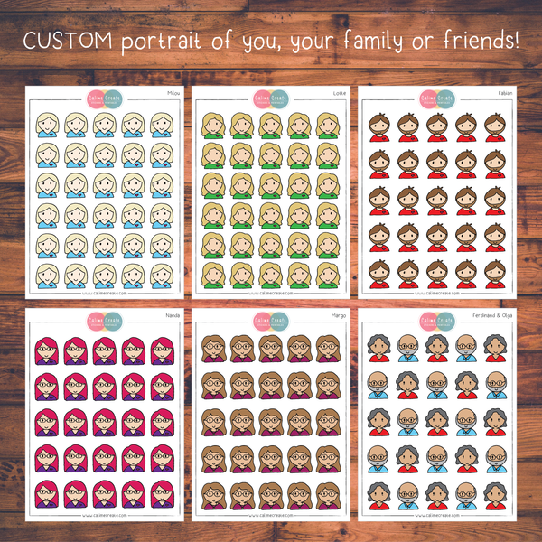 CUSTOM Hand Drawn Portrait Stickers