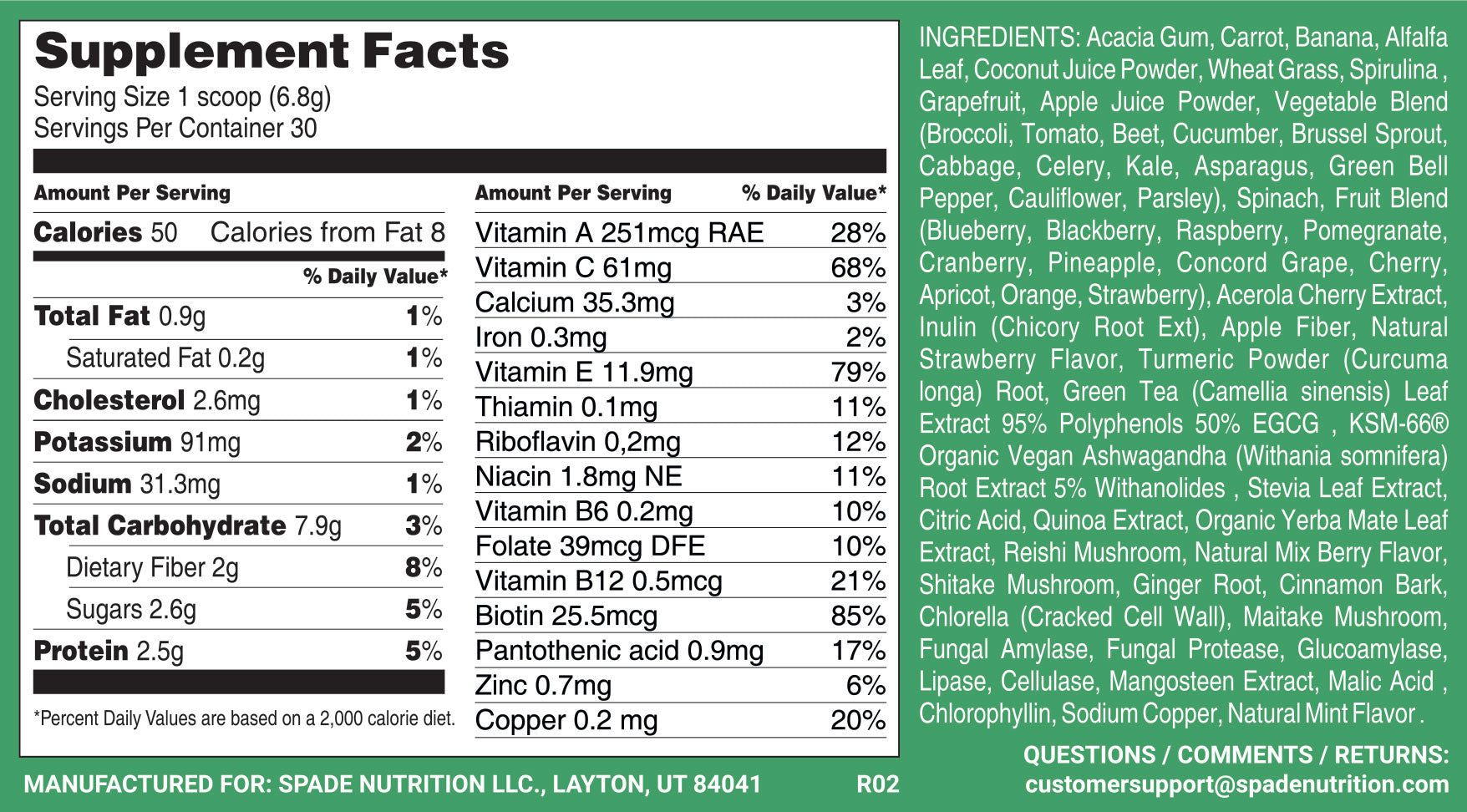 spade nutrition sb-66 supplement facts ingredients