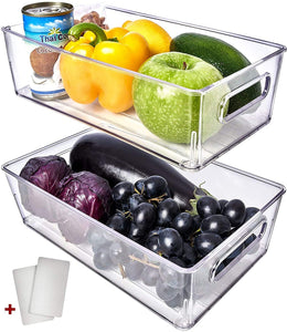 Fullstar Fridge Organizer Bins 4 Pack - Refrigerator Organizer Bins Freezer Organizer Stackable Refrigerator Storage Bins Fridge Storage Containers Clear Pantry Organization And Storage Bins