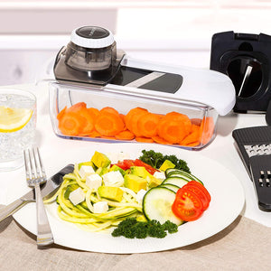 Fullstar Mandoline Slicer Spiralizer Vegetable Slicer - Cheese Slicer Food Slicer 6-in-1 Vegetable Spiralizer Potato Slicer Zoodle Maker BPA-Free
