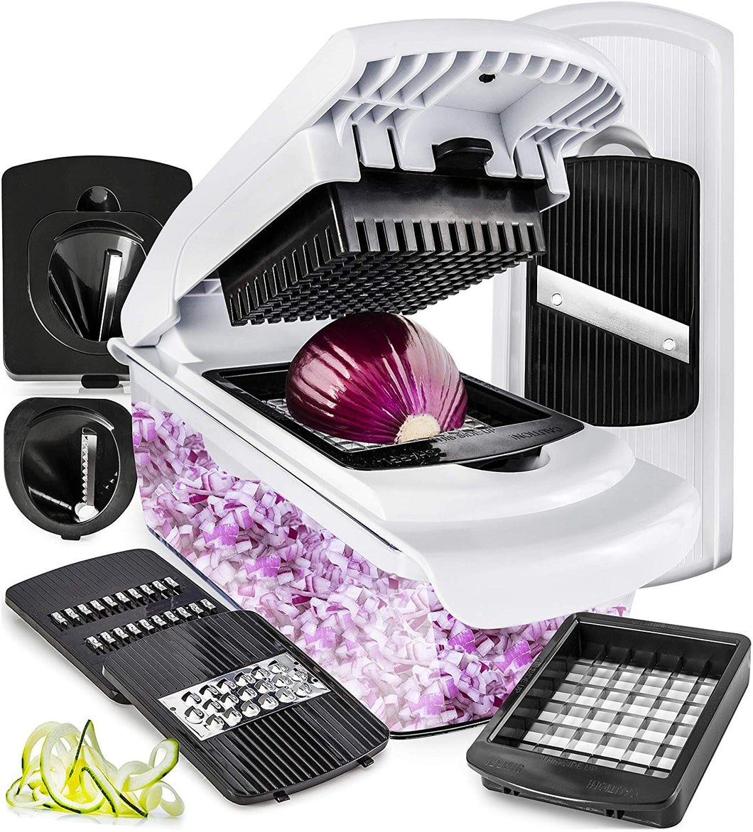 Fullstar Vegetable Chopper Dicer Mandoline Slicer - Food Chopper Vegetable Spiralizer Vegetable Slicer - Onion Chopper Salad Chopper Veggie Chopper Vegetable Cutter Food Slicer 7 Blades