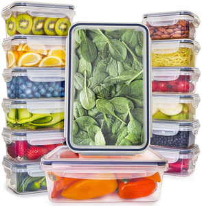 14-Pack Food Storage Containers with Lids (3 Sizes)