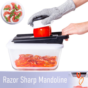 Chopper Pro with Large Glass Container (8-in-1 Mandolin Slicer and Chopper)