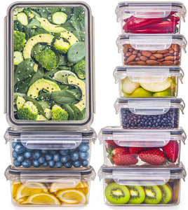 9-Pack Food Storage Containers with Lids set (3 Sizes)