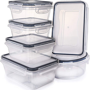 12-piece set Plastic Food Storage Containers with Airtight Lids