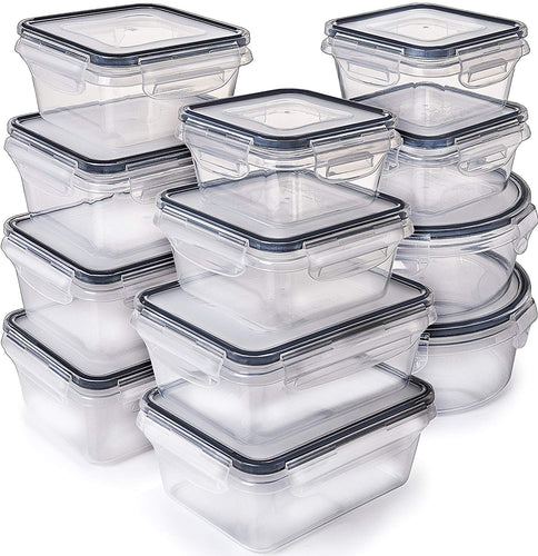 12-Pack Food Storage Containers with Lids set (5 Sizes)