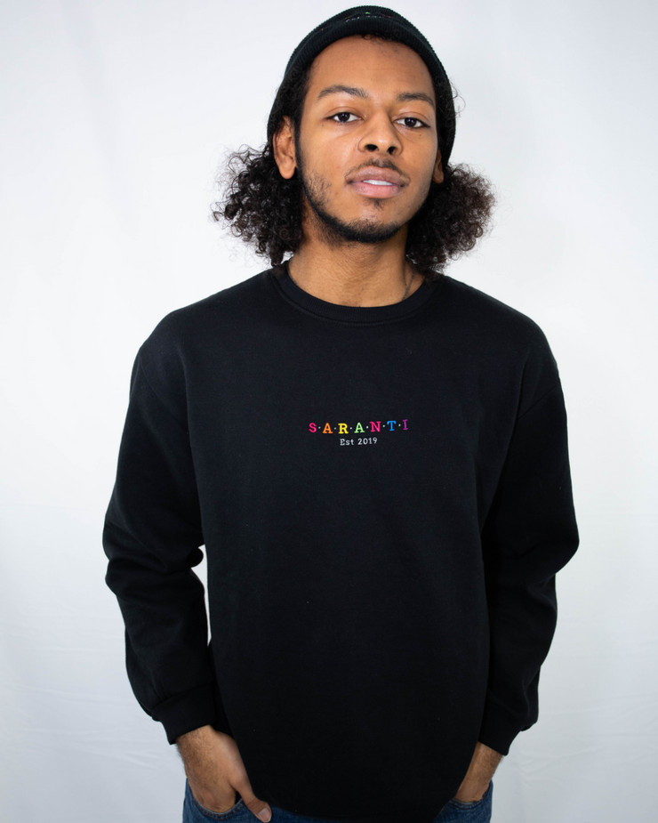 Rainbow Oversized Black Sweatshirt