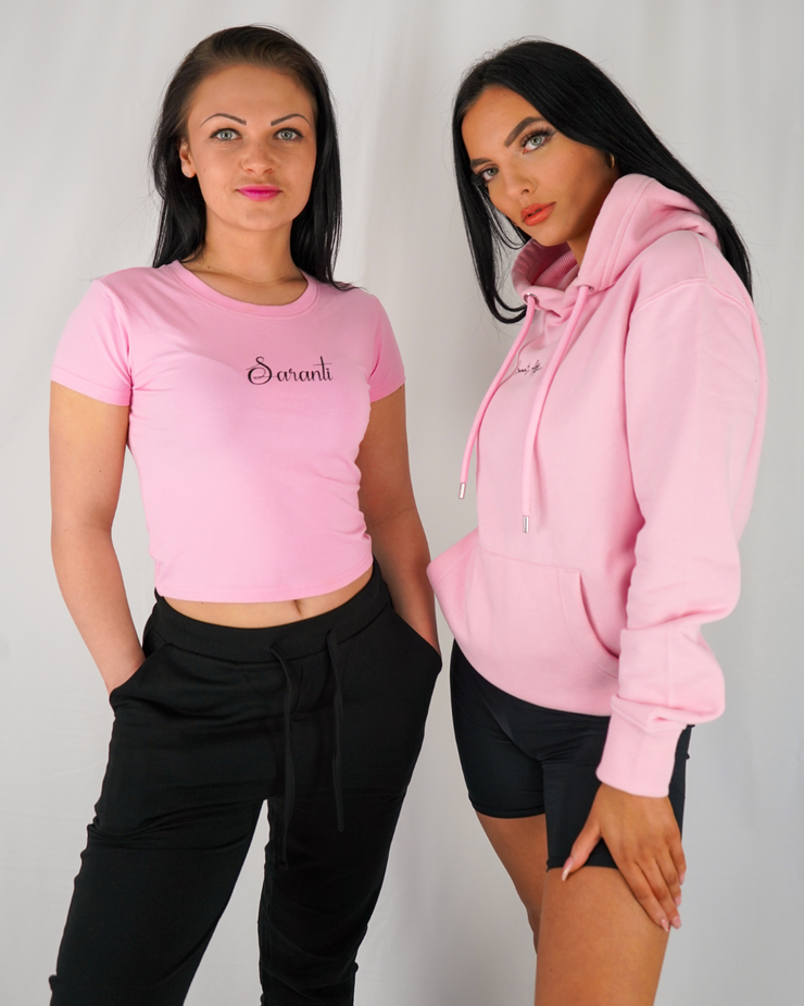 Bubble Gum Pink Crop Top & Hoodie Bundle