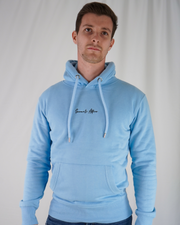 Baby Blue Signature Hoodie / Black Embroidery