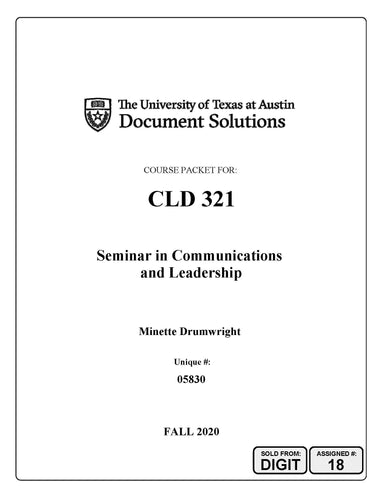 Drumwright CLD321 Fall2020