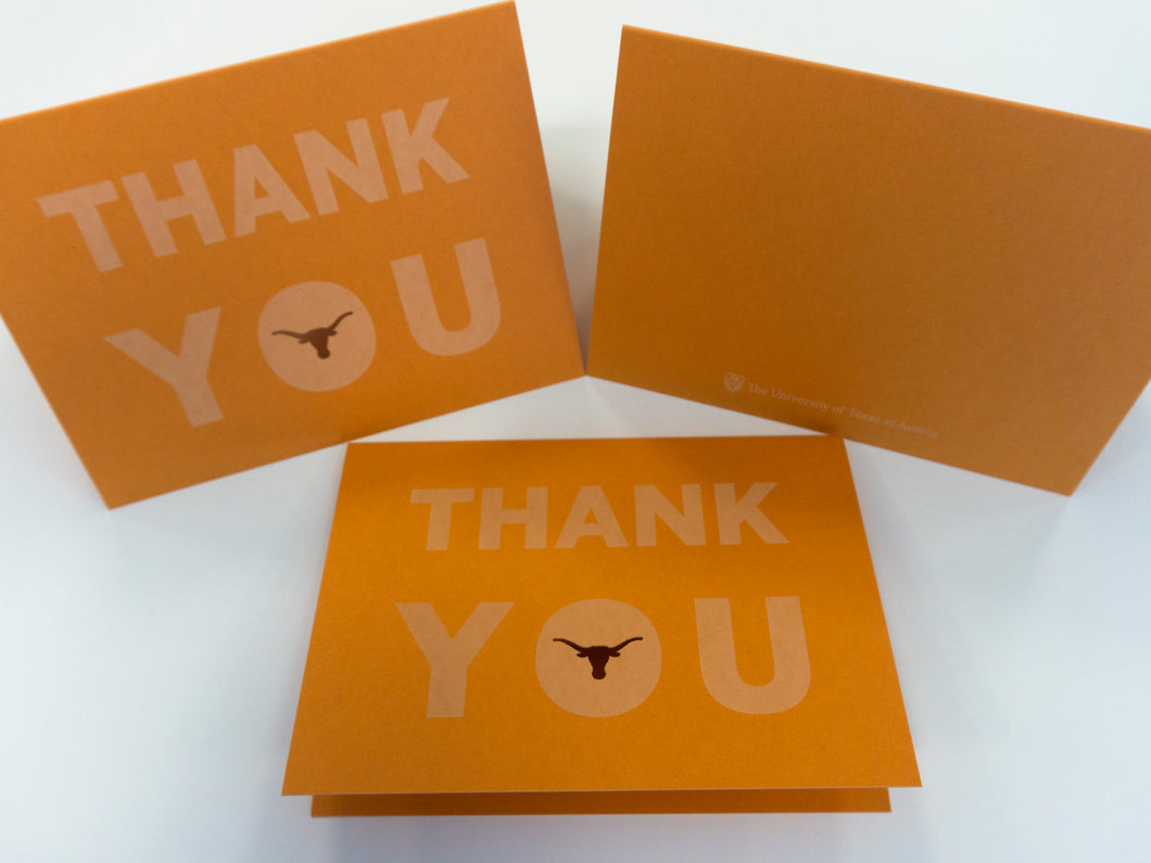 Thank You Cards Package of 25 with Cutout Longhorn (FREE DOMESTIC SHIPPPING)