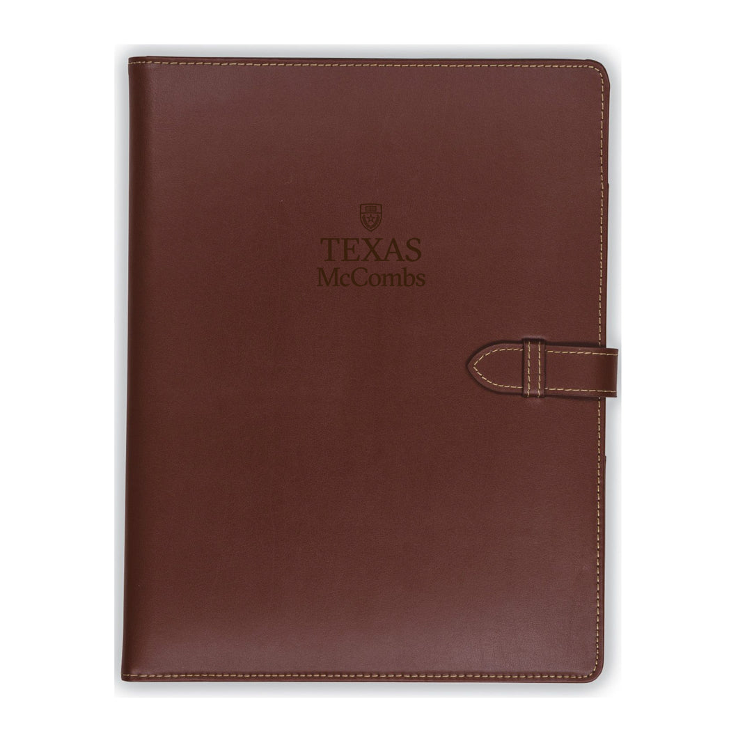 Tan Contrast Stitch Leather Padfolio (McCombs)