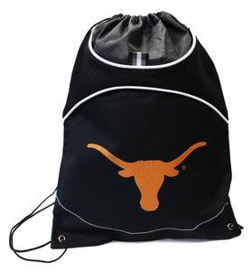 Black Drawstring Bag with Longhorn