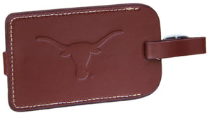 Leather Luggage Tag with Longhorn