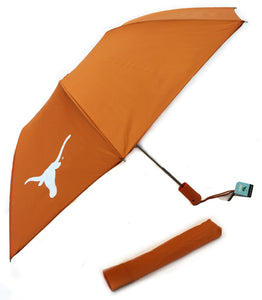 Burnt Orange Umbrella with Longhorn