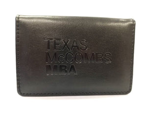 Black leather wallet and ID/business card holder - McCombs MBA
