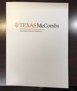 White Two-Pocket Folder with Texas McCombs logo