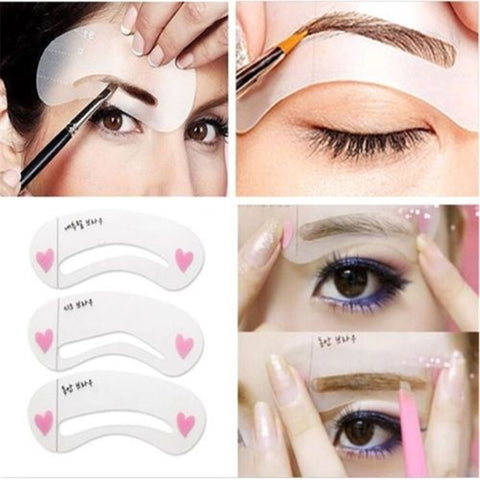 New Fashion Shaper Sale 3pcs Eyebrow Shape Stencils Grooming Kit Makeup Tool