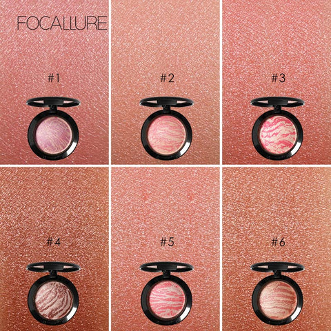 Fashion Top Quality Professional Cheek 6 Colors Makeup Baked Blush Bronzer Blusher With Brush by Focallure