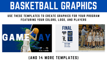 Load image into Gallery viewer, Customizable Basketball Graphics - Canva Templates