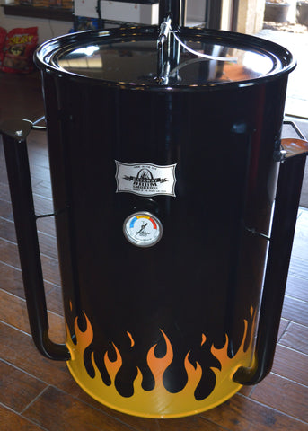 yellow and orange flames on a black drum