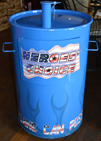 sky blue drum with flames and american flag