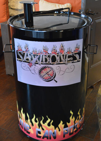 back drum with vinyl flames and insane can posse at the bottom