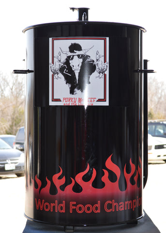 black drum with airbrushed flames and quote at the bottom (front)