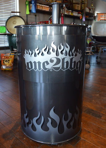 silver solid flames on a charcoal gray drum