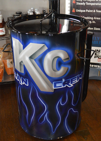 airbrushed blue glowing logo and flame design