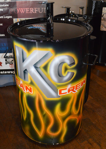airbrushed yellow glowing logo and flame design