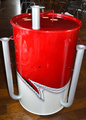 vintage car inspired metallic red, checkers, and white layered drum (front)