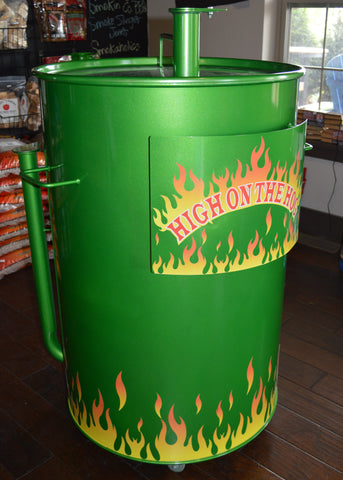 green drum with vinyl flames at the bottom