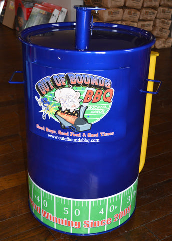 blue drum with yellow intakes and football graphic vinyl at the bottom