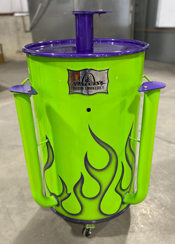 neon green Custom Color Drum with purple lid and intake flappers