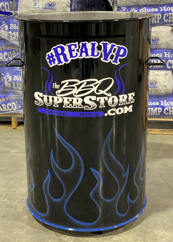 royal blue ghost flames ona bllack drum