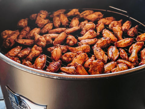 Chicken Wings on the top rack of the Gateway Drum Smoker