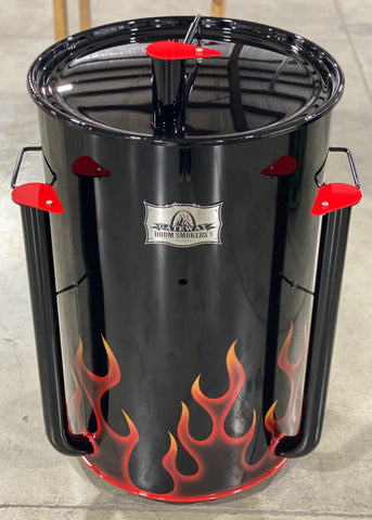 Red ghost flames with yellow tips on a black drum